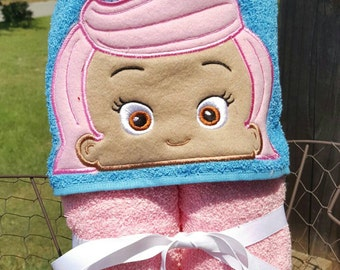 Pink Fish Bubble Guppies Hooded Towel with FREE Embroidered Name