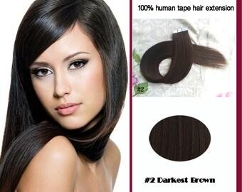 100% human black Remy hair Tape Hair Tape Hair Extension 40pcs/set Tape In Human tape Hair extensions