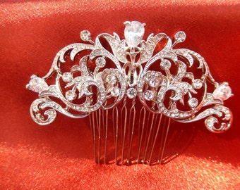 Vintage Inspired Crystal Hair Clip, Crystal Hair Fascinator, Unique Bridal Hair Accessories