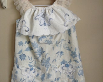 blue bell dress, shabby chic, vintage, eco friendly, upcycled, pillowcase dress, unique gifts, tea party