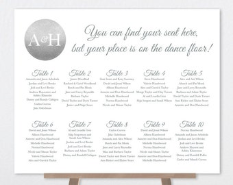 Wedding Seating Chart Sign / Wedding Sign / Metallic Silver Sparkle / Silver and Gray / Custom Sign ▷ Printable File {or} Printed & Shipped