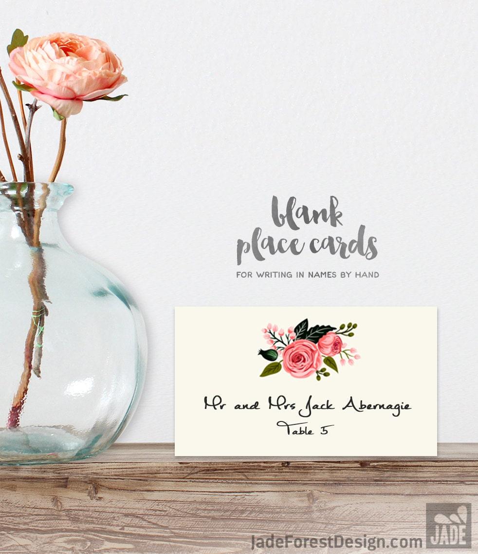 Wedding Place Cards DIY Printable PDF Floral Watercolor