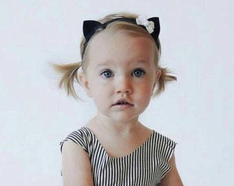 Baby kitty kitten cat Ears Felt Headband with bow - you choose color