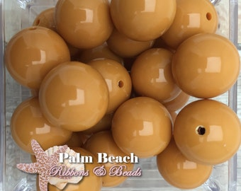 Ten (10) pc Chunky 20mm Bubblegum Acrylic Solid Beads DIJON MUSTARD YELLOW-10pcs