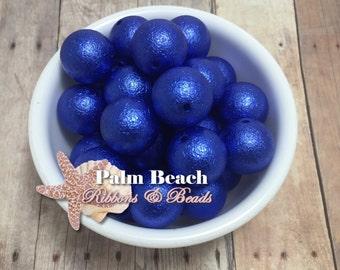 Ten (10 pcs) 20mm ROYAL BLUE Wrinkle Pearl Finish Acryllic Bubbleum Beads