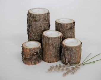 Set of 5 Pine Tea Light Candle Holders, Log Candle Holders, Centerpieces, Wood Candle Holders, Tea Lights, Rustic Wedding Decor