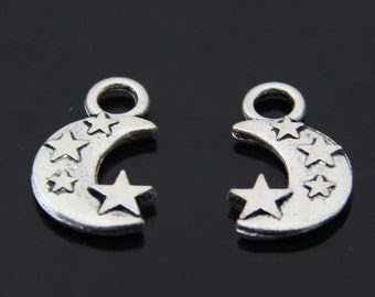 20PCS/Bulk Sale,Antique Silver Moon Charm Pendant --- Tibetan Silver Tone, Vintage Jewelry Supply ---- 21mm*13mm,  CC051-2643