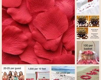 500 Strawberry Rose Petals - Silk Rose Petals for Weddings, Petal Toss, Runners