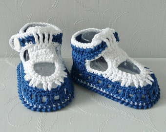 Baby boy crochet sandals, 3-6 months infant crocheted cotton shoes, marine nautical baby shower NAVY BLUE and WHITE