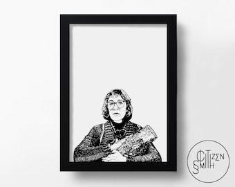 TWIN PEAKS - The Log Lady - David Lynch - Hand-Drawn Film Art Print/ TV Movie Poster