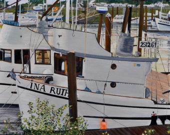 Boat Nautical Beach Home Decor - The Ina Ruth - Original Oil on Canvas