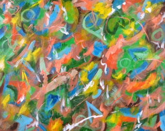 Addicted to Paint Series 24X30 acrylic abstract art orange blue brown green action painting