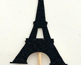 12 Eiffel tower cupcake toppers .. bridal shower .. Eiffel tower themed party .. bachelorette party