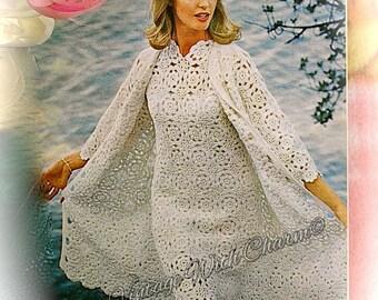 Vintage 70s Crochet Pattern Copy For A Wedding Dress, Occasion Dress, Coat & Jacket.