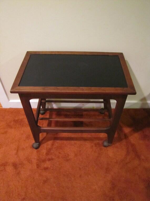 mid century modern rolling bar cart serving cart wood. Black Bedroom Furniture Sets. Home Design Ideas