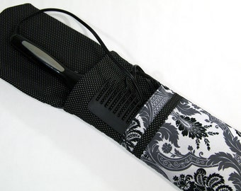 Insulated Curling Iron, Flat Iron, Hair Iron Travel Case in Greyscale Damask Fabric