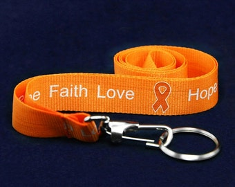 Orange Ribbon Awareness hope faith love Lanyards