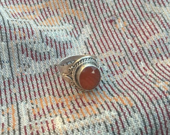Carnelian Ring...Sterling Silver Ring...Handcrafted...Birthstone...Simple...Vintage...Gypsy...Hippie...Gift...Vintage Shop...LV127