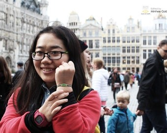 Belgium-Eyes On Earth Bracelet(Green) : Made by 'Stella Artois' bottle glass
