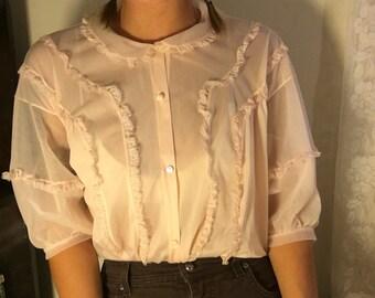 Vintage Chiffon Pink Top