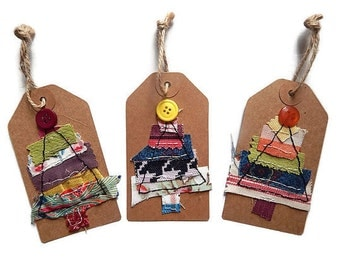 Stitched Christmas gift tags, pack of 3 tags