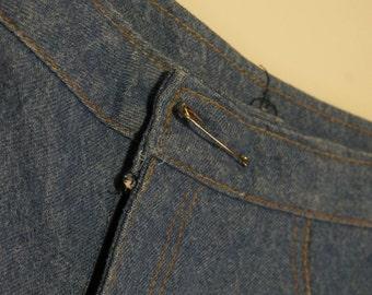 Amazing Handmade 1960s Bell Bottom Jeans True Vintage Denim Indigo Blue Womens Hippie