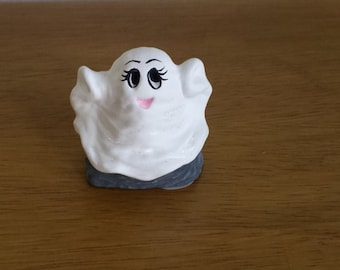 Ceramic Silly Ghosts -Cute on rock (#99A)