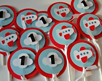 Boys airplane party/babyshower cupcake toppers