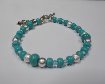 Beaded hand made bracelet,one of a kind w/ Turquoise