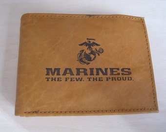 "Mankind Wallets Men's Leather RFID Blocking Billfold w/ ""United States Marines Image""~Makes a Great Gift!"