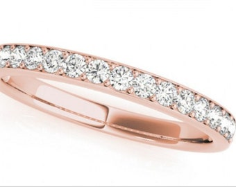 0.32ct Traditional Bridal 14k Rose Gold Wedding Band with Diamonds