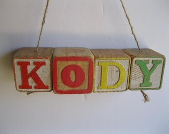 Kody, baby blocks, block ornament, vintage blocks, baby block hanging, Kody Xmas ornament, baby block ornament