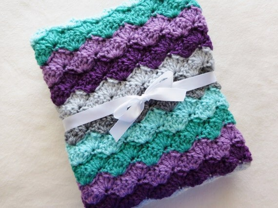 Crochet Baby Blanket Teal Purple Gray By Craftcottageboutique