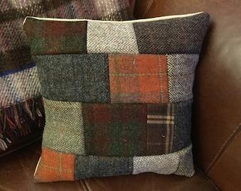 Harris tweed handmade cushion