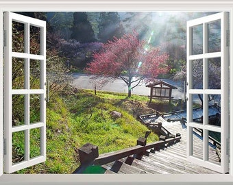 Window Looking Down Into A Stairway That Leads To A Garden  Wall Mural   36x48