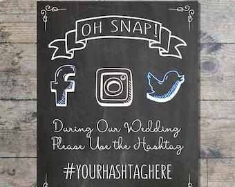 Wedding Hashtag Chalkboard Sign, Social Media Wedding Sign, DIGITAL FILE ONLY