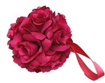 "Fuchsia pink pomander ball for decoration 4.5"" kissing pomander set of 6"