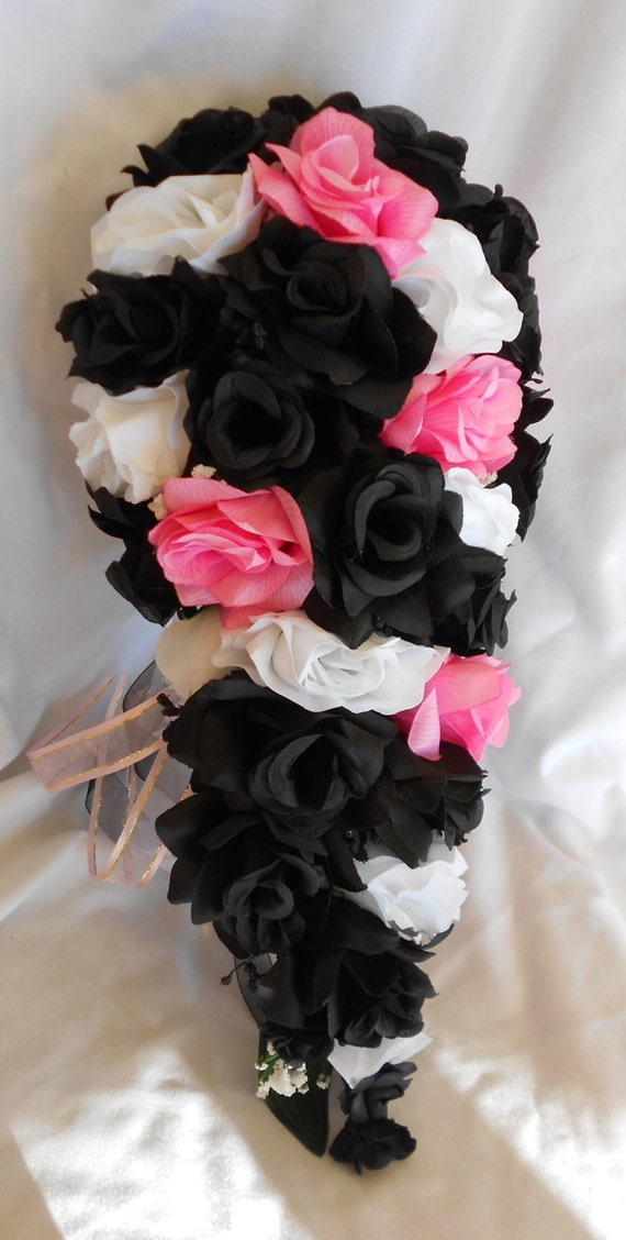 Black white and pink wedding set 14 pc Cascade style made