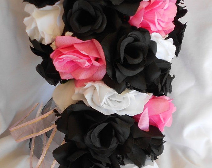 Bridal wedding bouquet pink black and white 2pc Cascade style made of all roses