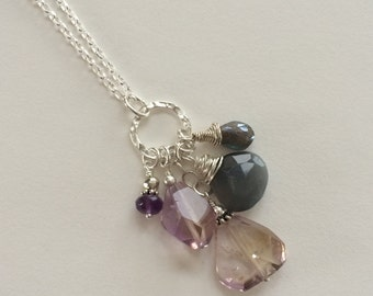 Amethyst and Moonstone Pendant necklace, Bohemian Necklace, February Birthstone