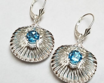 Sea Shell with Blue Topaz Earrings in 100% Eco-Friendly Recycled Sterling Silver Perfect for Summer