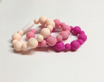 VALUE Set - Kids & Toddler Bracelet - Set of 3 - Chew Beads - BPA Free Silicone -Pink Pastel Peach - Sensory chew - Photo Prop - Jewelry