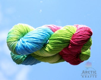 Summer Refreshment, hand dyed MCN (merino, cashmere, nylon) sock yarn 382 yrds