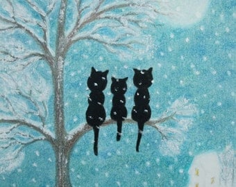 Cats Snow Card: Cat Card, Cats Tree Art Card, Snow Card, Cats Moon Card, Children Card, Winter Art, Cats Tree Moon Snow Card, Kids Card