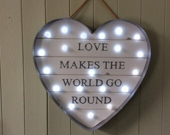 Light Up Heart LED Battery Operated Love Makes The World Go Round