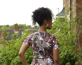 African mask bodycon dress