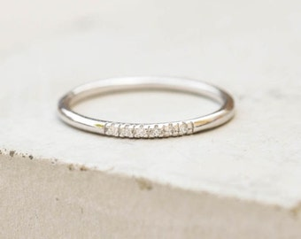 Petite, Dainty Ultra thin Stacking Ring with 6 mini micro pave CZ Stones - SILVER - quarter eternity band, stacker ring
