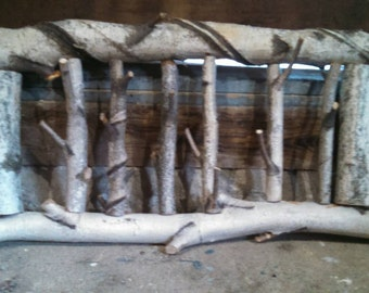 White birch coat rack