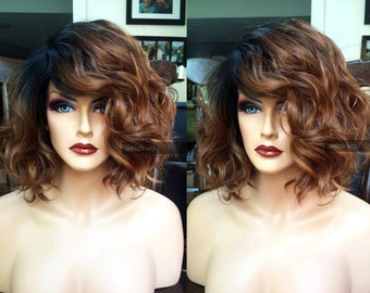 Lace Front Bob Wig // Auburn Brown + Heat Safe // Short Ombre LACE Part Wavy Wig // Curly Dark Root
