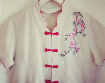 Oriental Linen Embroidered Top